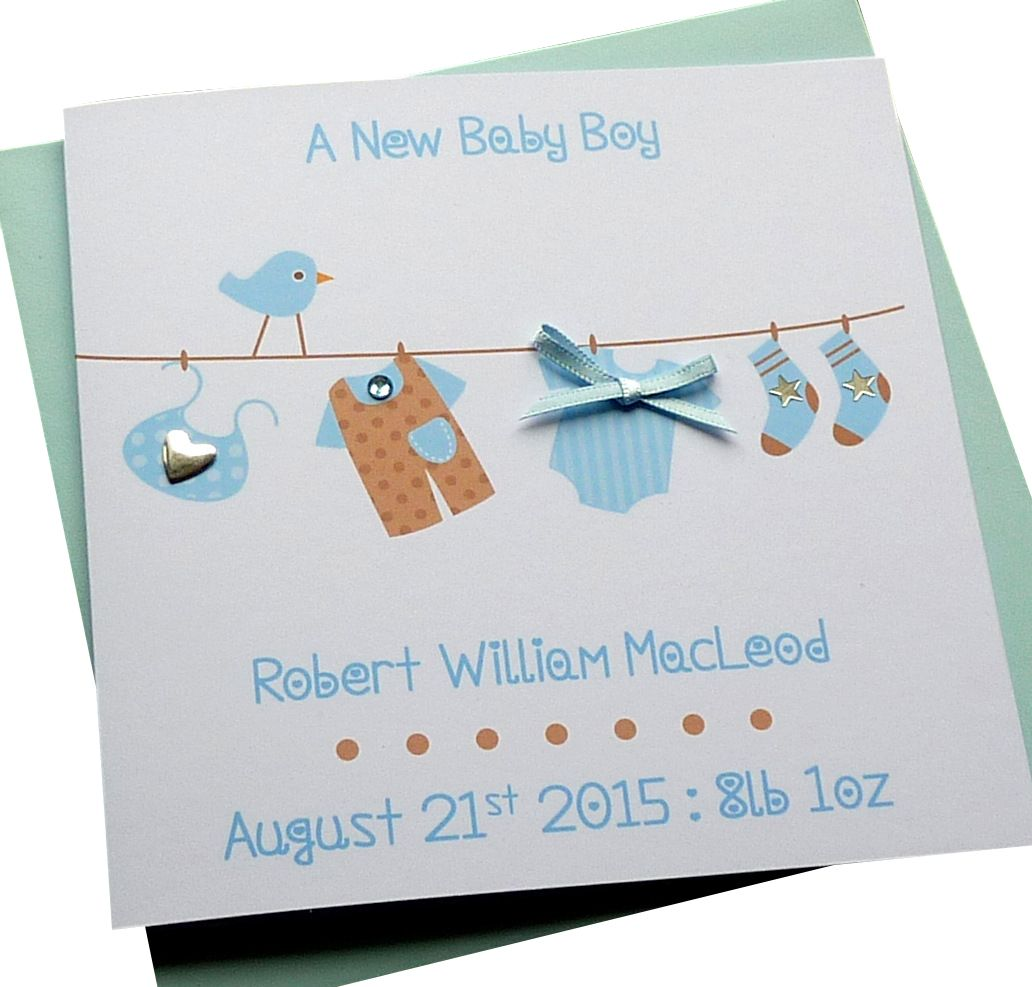 New Baby Boy Washing Line Card