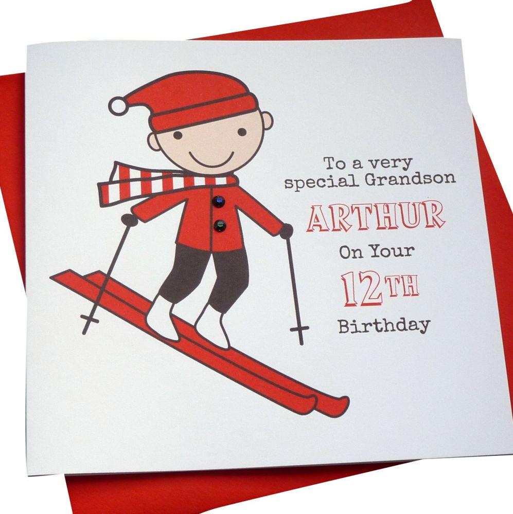 Skier Birthday Card