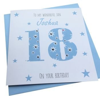 Blue  Age Number Birthday Card