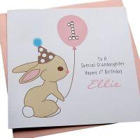 Bunny Birthday Card - Pink or Blue