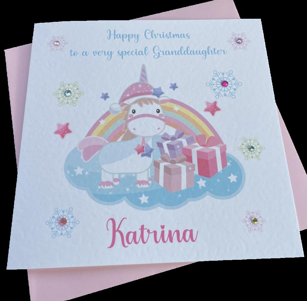 Rainbow Unicorn Christmas Card