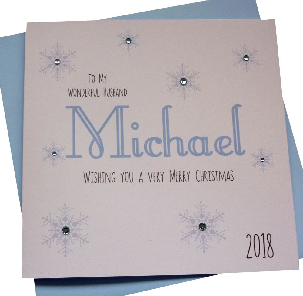 Icy Blue 'Name' Christmas Card