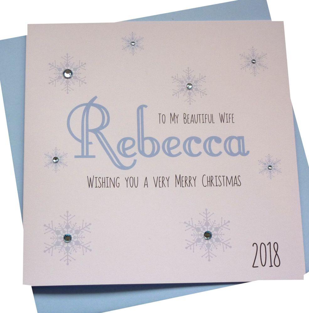 Icy Blue 'Name' Christmas Card (female)