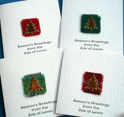 4 x Personalised Christmas Tree Harris Tweed Cards