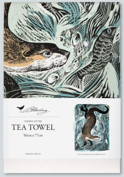 Angela Harding Fishing Otter Tea Towel