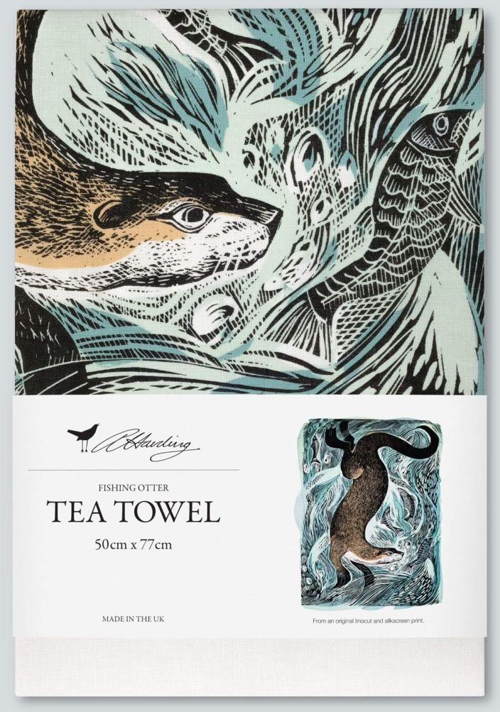 Angela Harding Fishing Otter Tea Towel