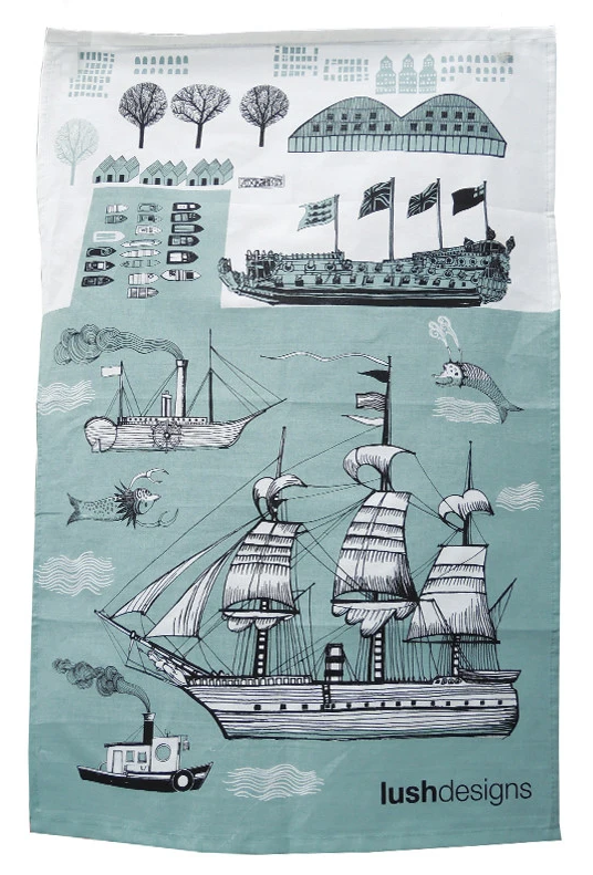 Lush Designs Ship Cotton Tea Towel
