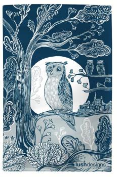 Lush Designs Moonlit Owl Cotton Tea Towel