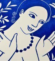 Anita Klein Tea Towel, Blue Angel with Bird