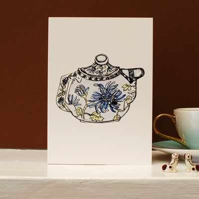 Green and White Tea Cup Card