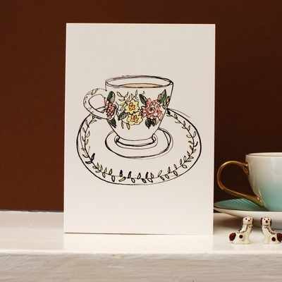 Mint Tea Cup Card