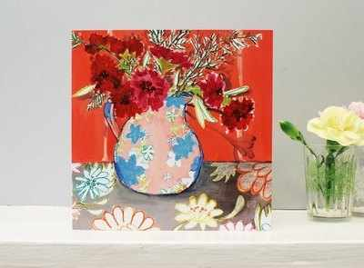Pinks in Vase Flower Card