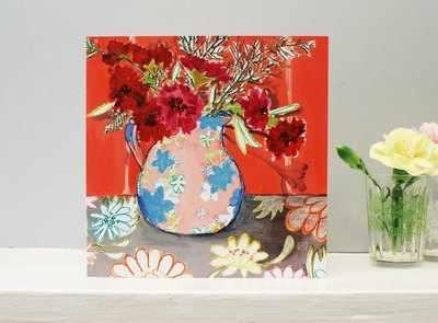 Pinks in Vase Flower Card