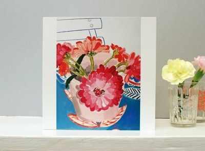 Blue Chair Flower Card