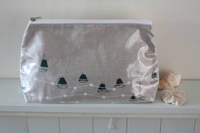 Hand Printed Irish Linen Wash Bag