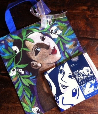 I Fiore delle Fave Canvas Bag and Two Anita Klein Tea Towels