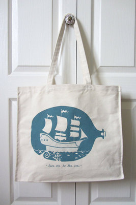 Hand Printed Ship in Bottle Tote Bag