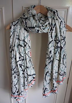 Paint Splat Print With Neon Edge Scarf