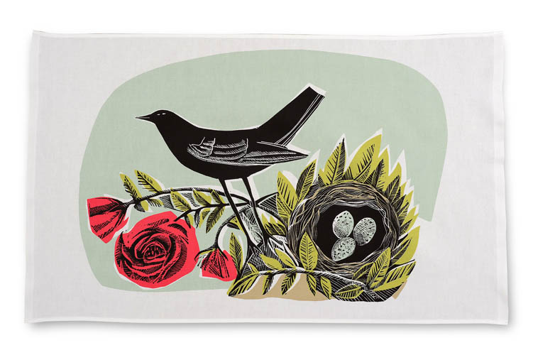 blackbird and rose nest artwork