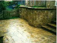 Retaining walls and patio in Buxton