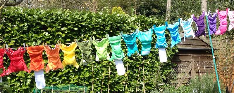 Pretty nappies on washing line