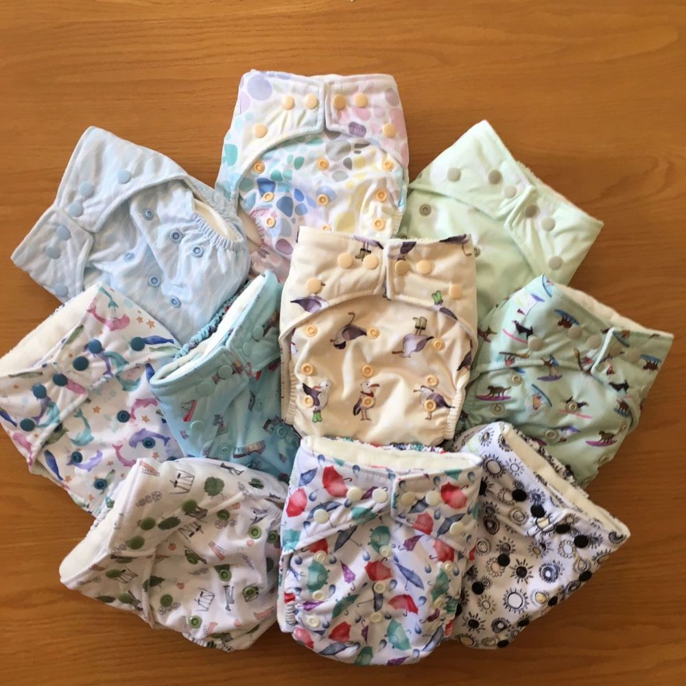 Baba+Boo One-size Pocket Nappies - Pack of 10 - new Senses patterns