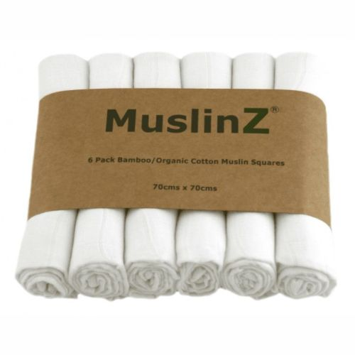 Muslin Squares - Bamboo & Organic Cotton - pack of 6