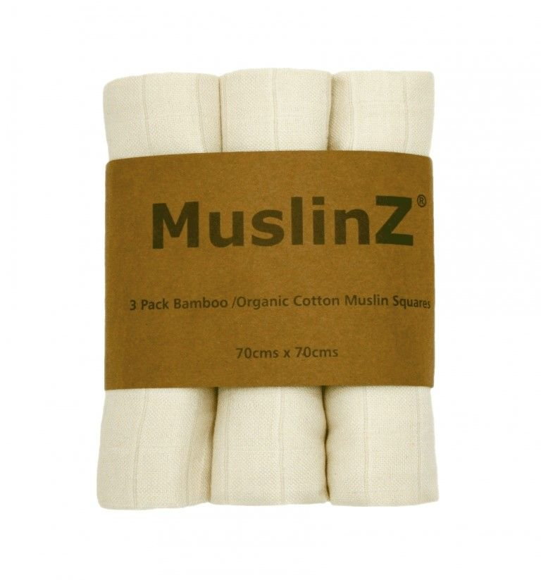 Muslin Squares - Bamboo & Organic Cotton - pack of 3