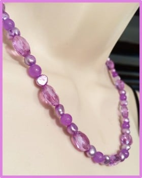Lilac Pearl & Crystal Necklace