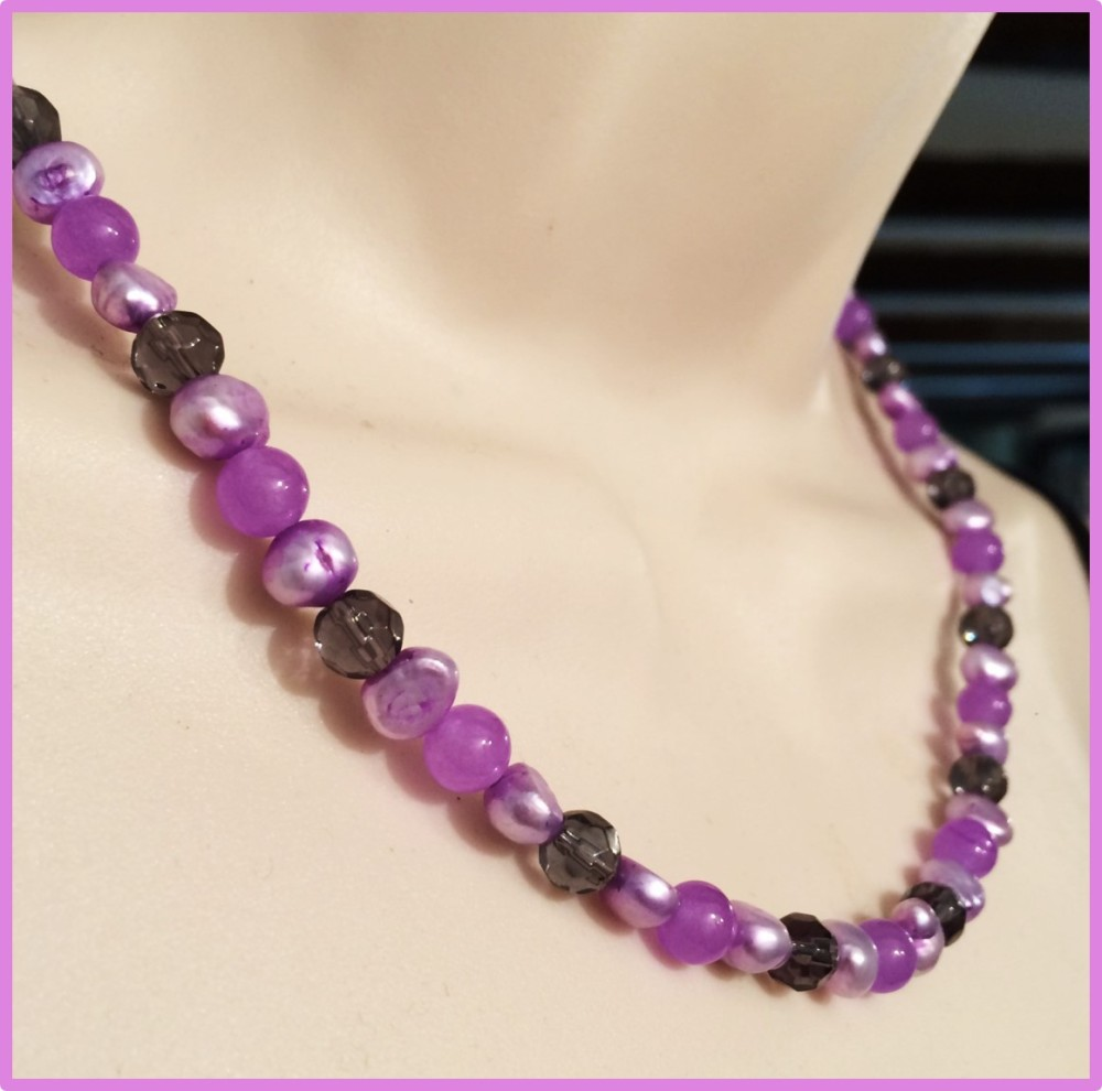 ''Lilac Pearl & Agate Necklace