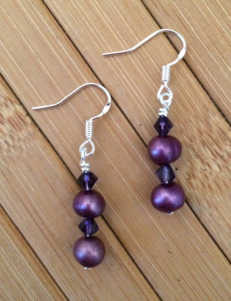 ''Purple Drop Earrings
