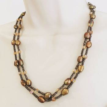 Bronze Pearl & Crystal Necklace