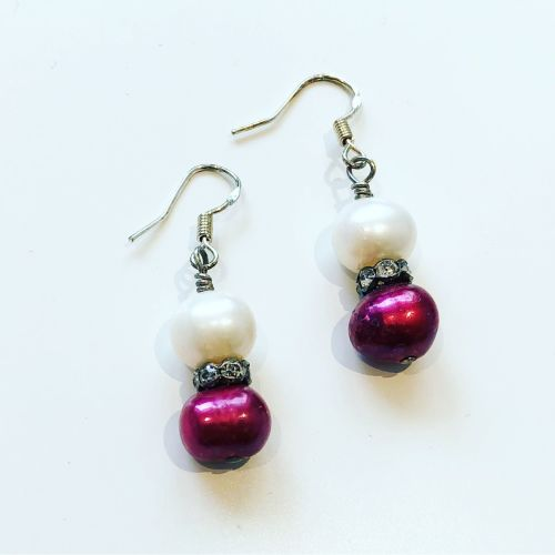 White & Cranberry Earrings
