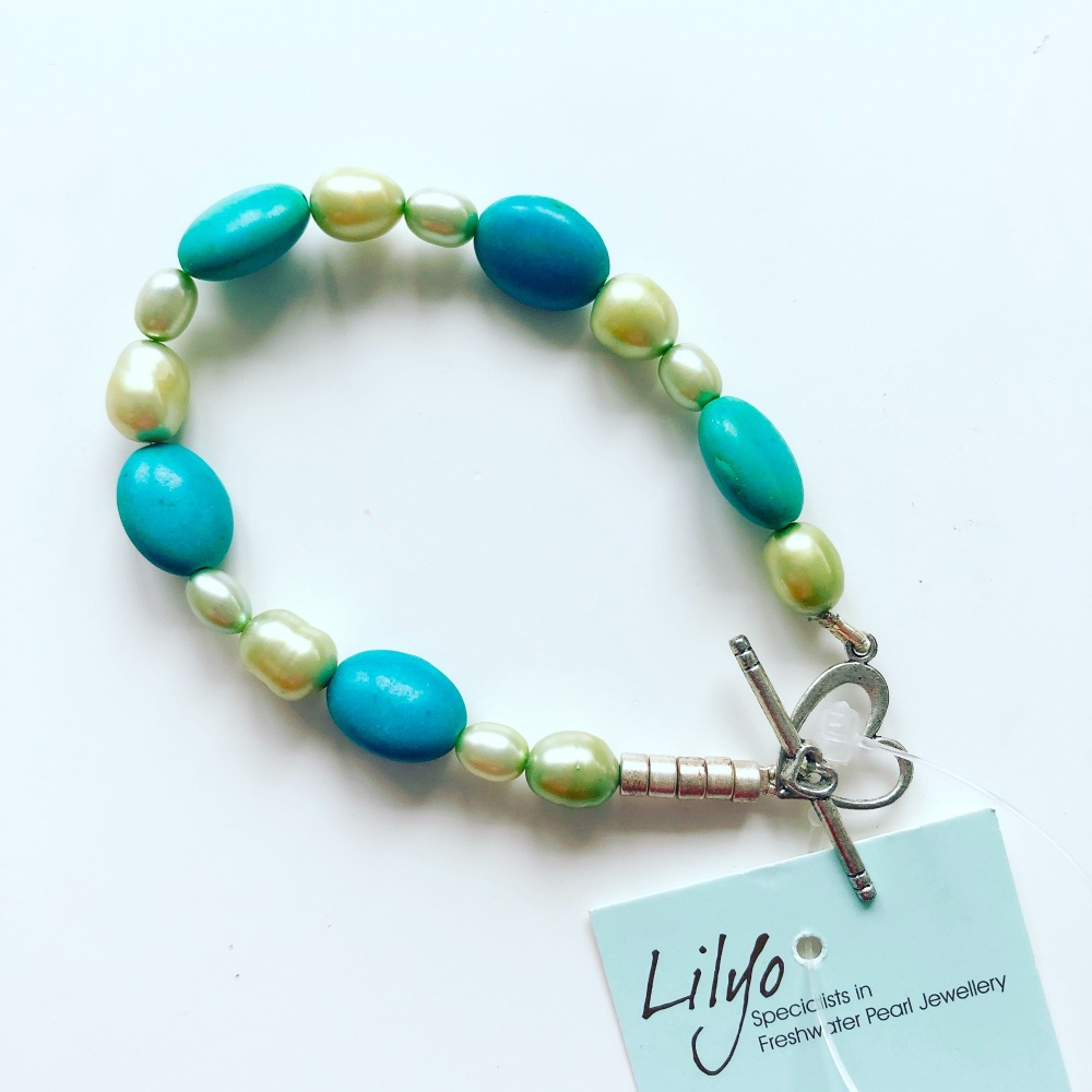 Green Pearl & Turquoise Bracelet