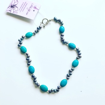 CHILD'S: Pearl & Turquoise Necklace