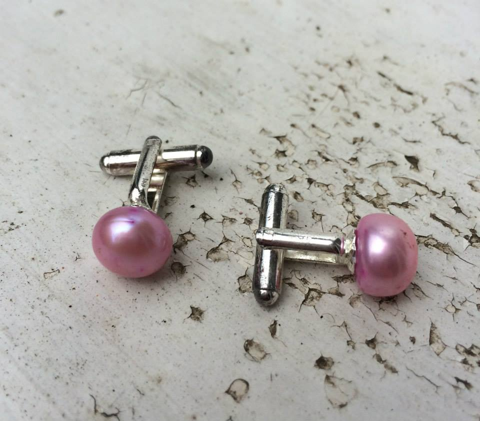 ''SALE Pink Pearl Cufflinks