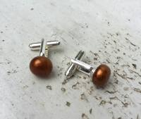 SALE Bronze Pearl Cufflinks