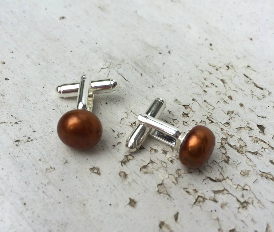 ''SALE Bronze Pearl Cufflinks