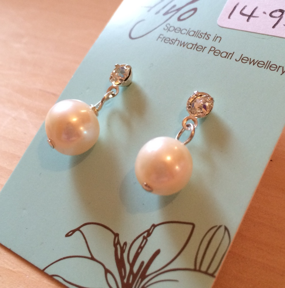 ''Pearl & CZ Earrings