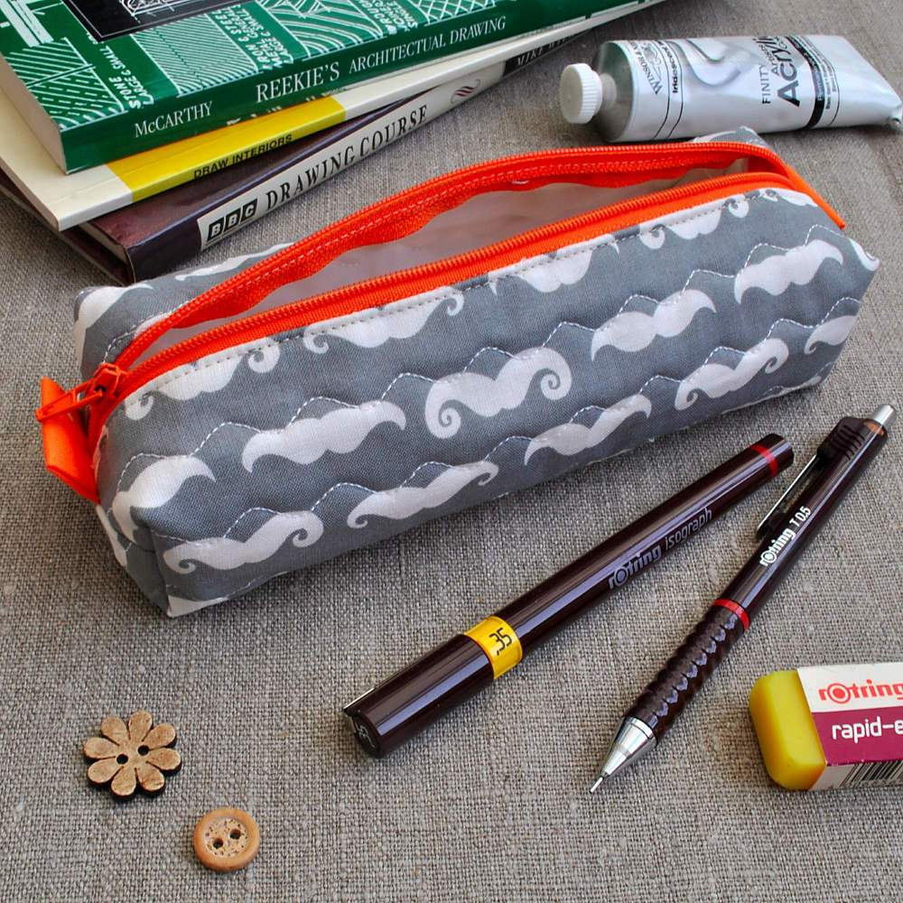 Box Pencil Case in Grey Moustaches
