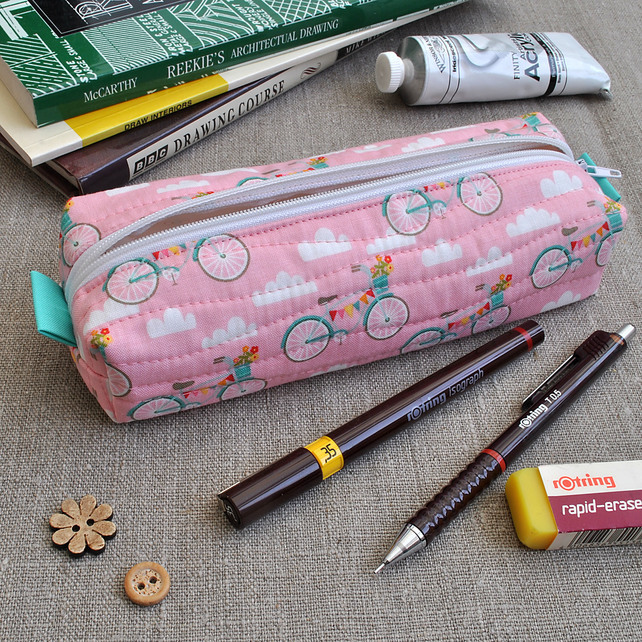 Box Pencil Case in Riley Blake Pink Bikes