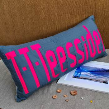 Teesside Collection: T-T-Teessider Cushion - Pink on Grey