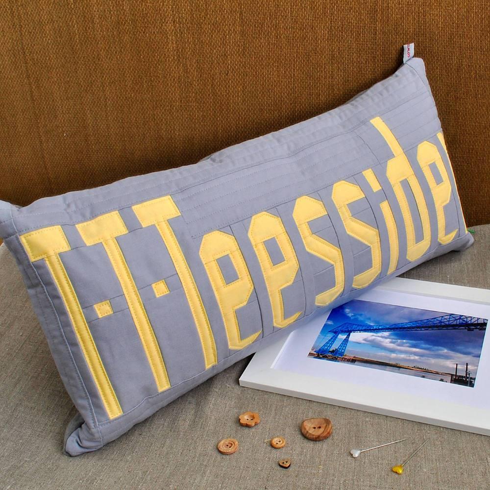 T-T-Teessider Cushion - Yellow on Grey