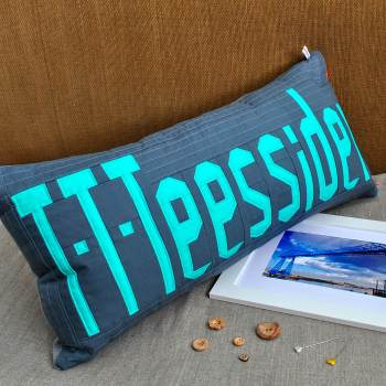 Teesside Collection: T-T-Teessider Cushion - Blue on Grey