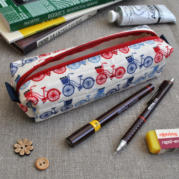 Make-Up Case in Blue Bikes - Cosmetics Case, Pencil Case