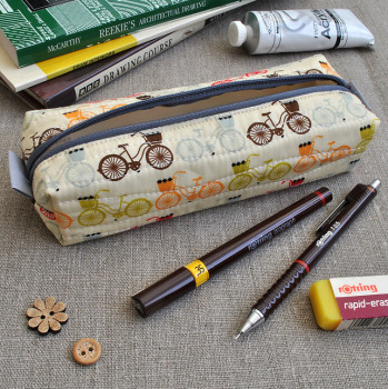 Make-Up Case in Red & Brown Bikes - Cosmetics Case, Pencil Case