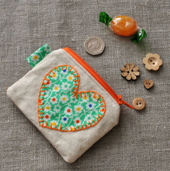 Coin Purse in Green Florals