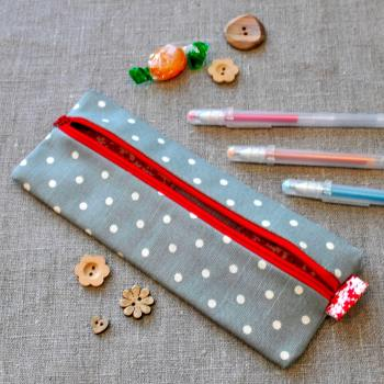 Small Pencil Case in Spotty Grey