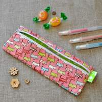 Small Pencil Case in Pink Scottie Dogs