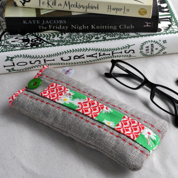Patchwork Glasses Case in Red & Green Florals